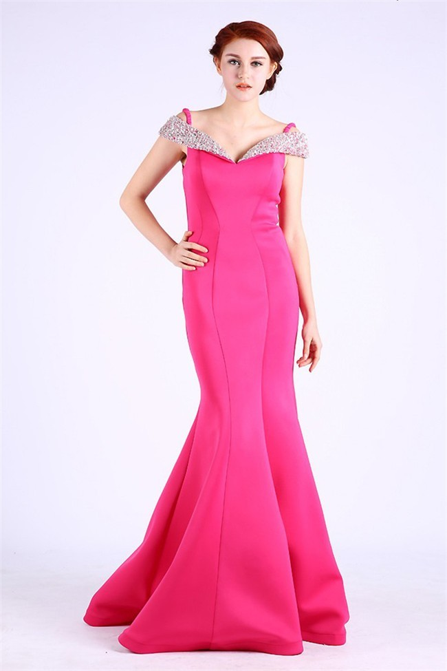Mermaid Off The Shoulder Hot Pink Satin Beaded Occasion Prom Dress