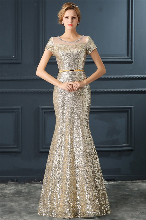 Mermaid Scoop Illusion Neckline Short Sleeve Champagne Sequin Prom Dress