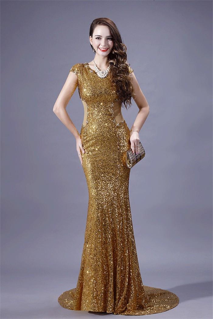 Mermaid Scoop Neck Cap Sleeve Sheer Back Gold Sequin Evening Prom Dress