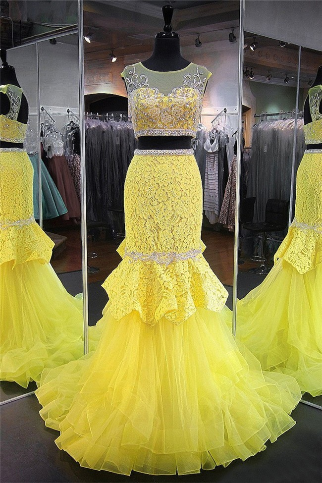 Mermaid Scoop Neck Cap Sleeve Yellow Tulle Lace Beaded Two