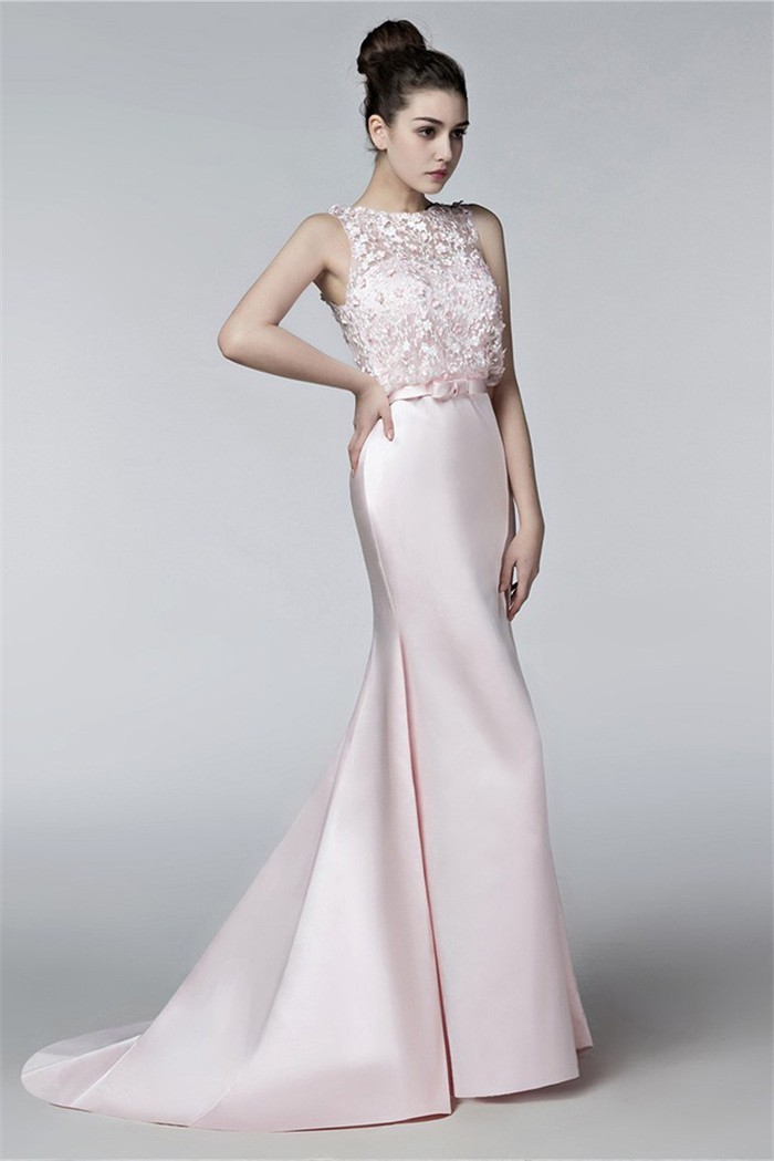 Mermaid Sleeveless Blush Pink Satin Lace Flower Evening Prom Dress ...