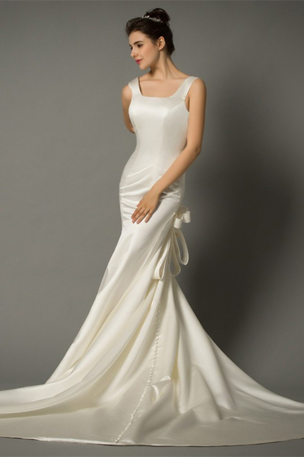 Mermaid Square Neck Backless Ivory Satin Wedding Dress With Bows Buttons