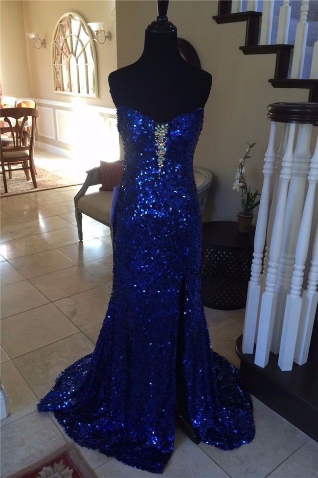 Mermaid Strapless Backless Long Royal Blue Sequin Beaded Prom Dress