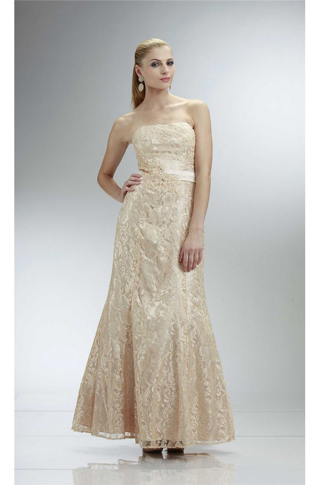 Mermaid Strapless Champagne Lace Prom Dress With Sash