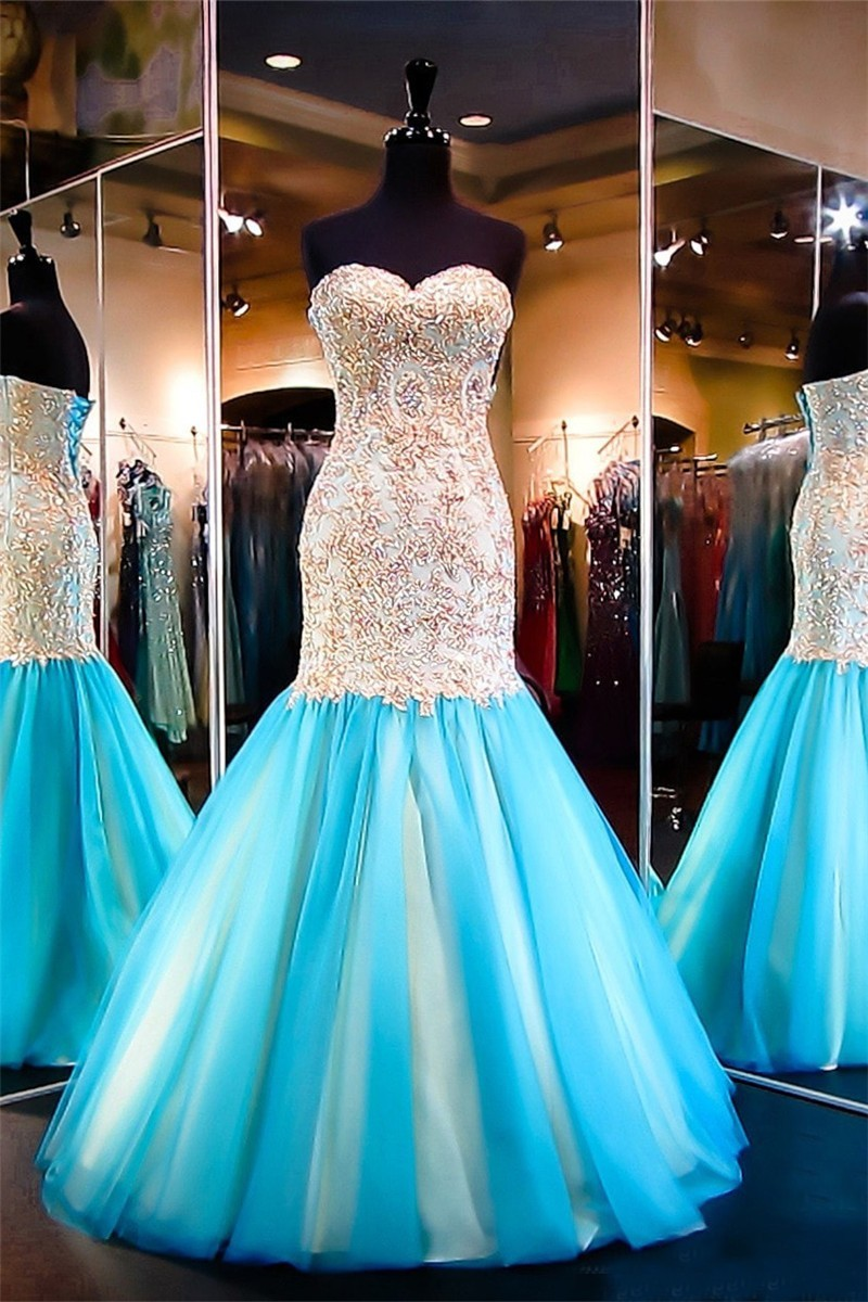 Mermaid Sweetheart Aqua Tulle Gold Lace Flare Prom Dress Corset Back