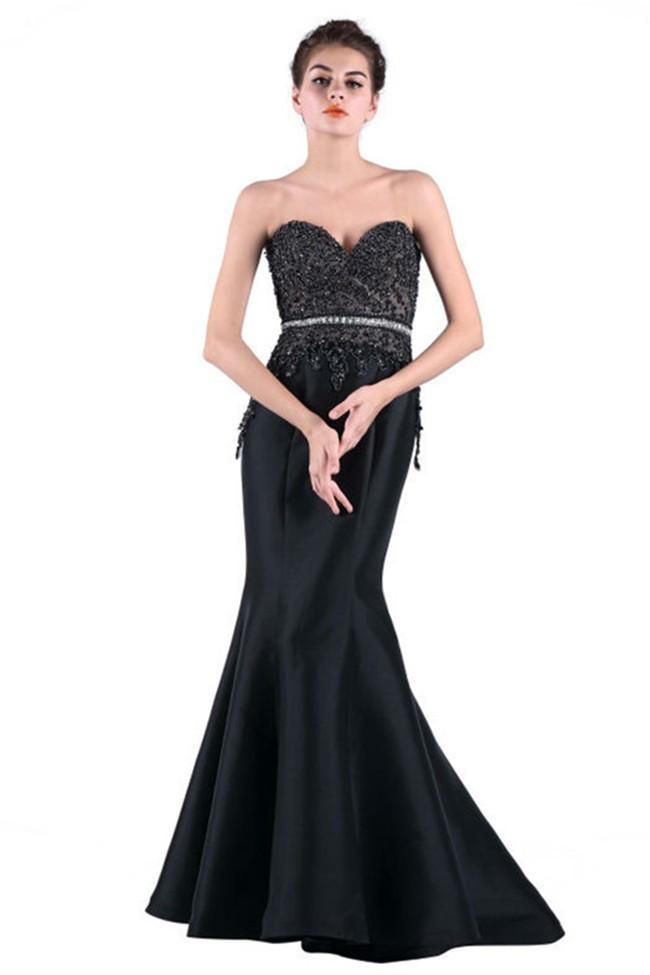 Mermaid Sweetheart Black Taffeta Beaded Evening Prom Dress With Belt