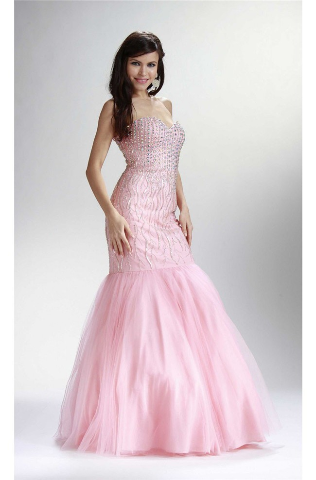 Mermaid Sweetheart Corset Light Pink Tulle Beaded Rhinestone Prom Dress