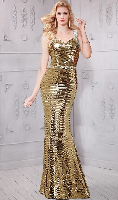Mermaid Sweetheart Gold Sequin Glitter Evening Prom Dress With Straps