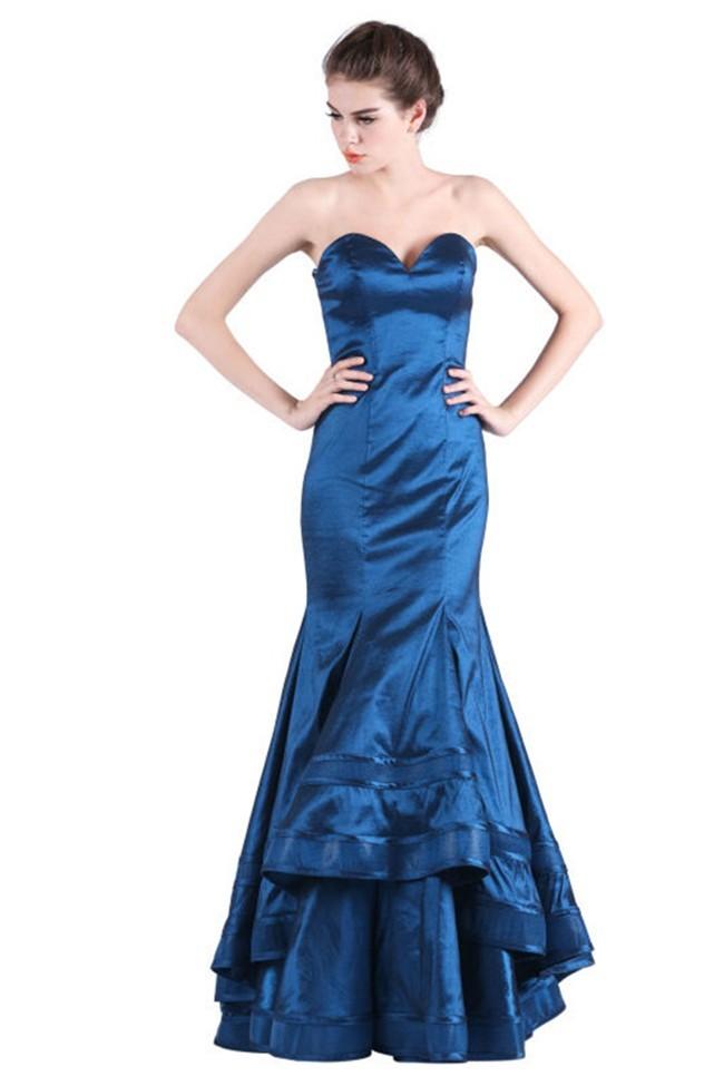 Mermaid Sweetheart Navy Blue Taffeta Special Occasion Evening Dress