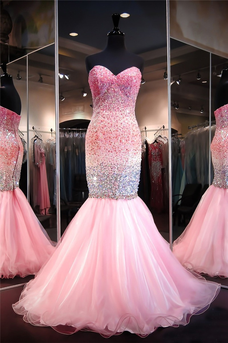 Mermaid Sweetheart Pink Tulle Ombre Beaded Prom Dress