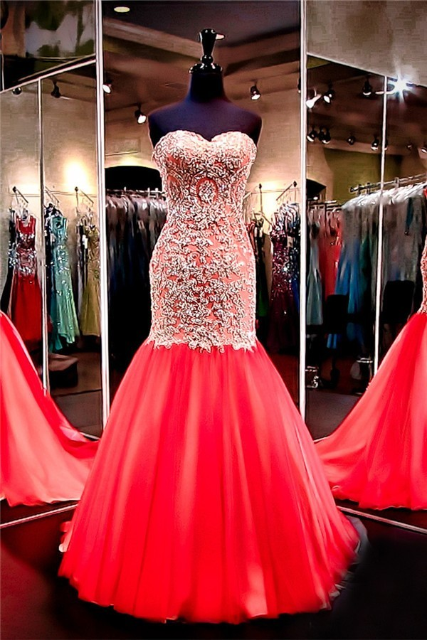 Mermaid Sweetheart Red Tulle Gold Lace Applique Beaded Prom Dress ...
