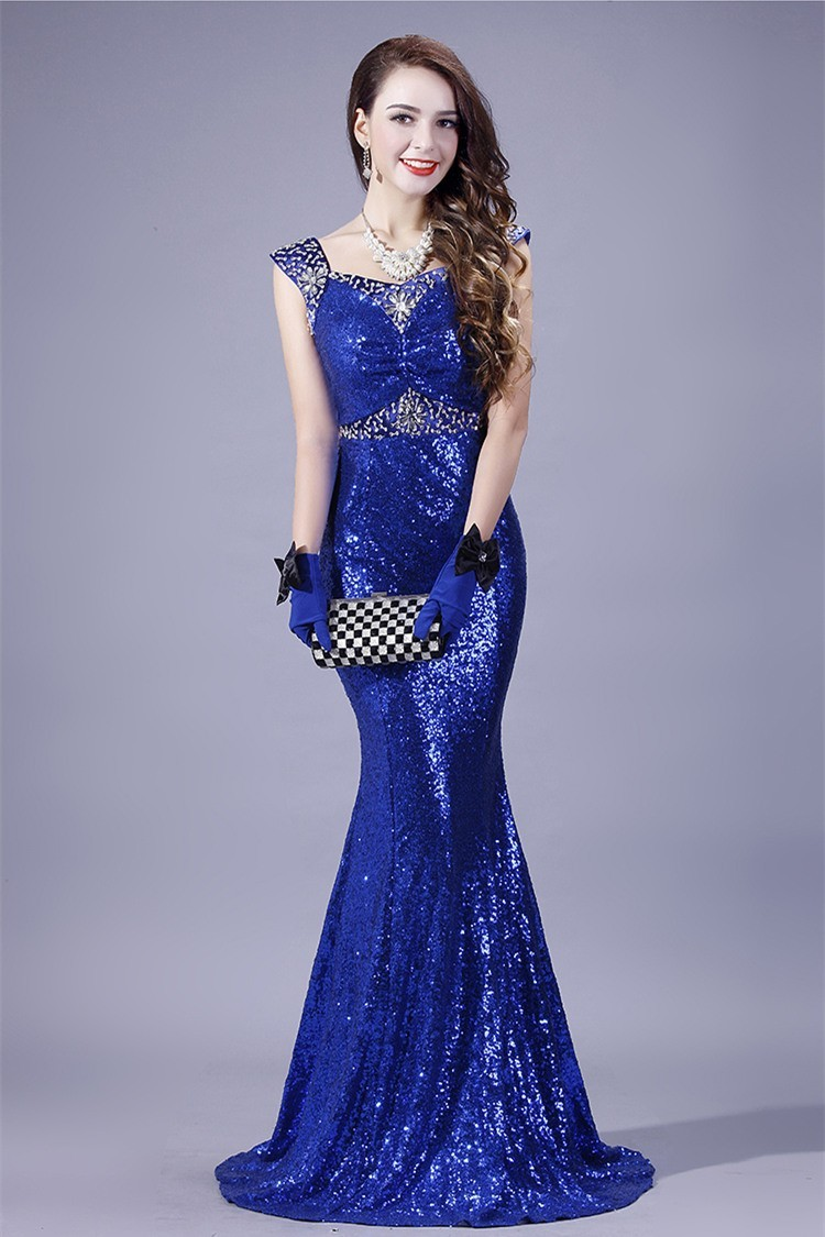 Mermaid Sweetheart Royal Blue Sequin Beaded Evening Prom Dress With