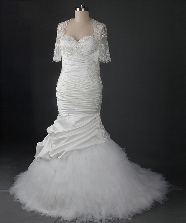 Mermaid Sweetheart Ruched Satin Tulle Ruffle Wedding Dress With ...