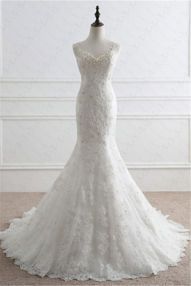 Mermaid Sweetheart Sheer Back Vintage Lace Beaded Wedding Dress With ...