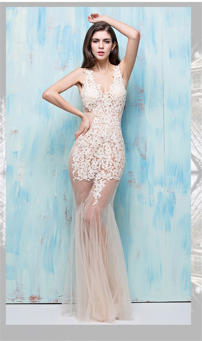 Mermaid V Neck Cutouts Open Back Sheer See Through Champagne Tulle ...