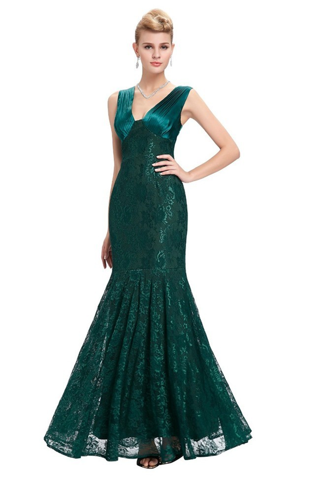 Mermaid V Neck Dark Green Lace Evening Prom Dress