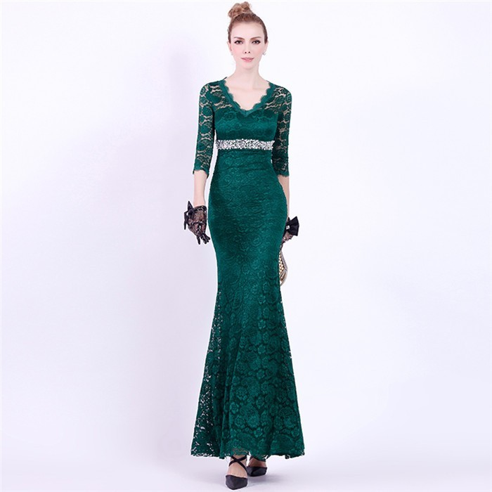 Mermaid V Neck Dark Green Lace Sleeve Special Occasion Evening Dress ...