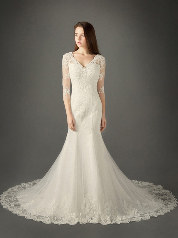2ba122efb7c9 Mermaid V Neck Illusion Back 3 4 Sleeve Tulle Lace Wedding Dress