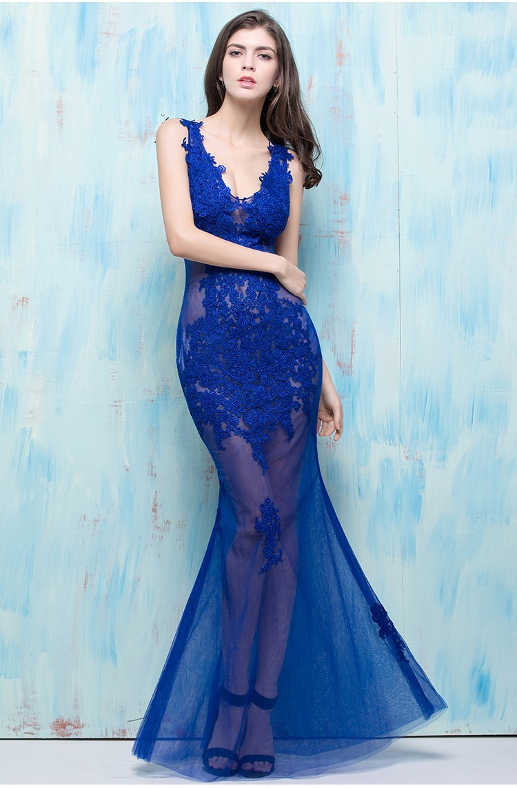Mermaid V Neck Open Back Sheer See Through Royal Blue Tulle Lace ...