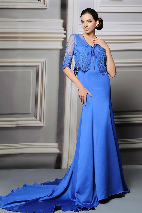 Mermaid V Neck Royal Blue Satin Mother Of The Bride Evening Dress ...