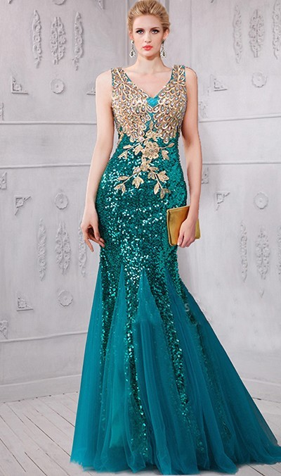 6ee88ab23ab Mermaid V Neck Teal Tulle Sequin Gold Applique Prom Dress