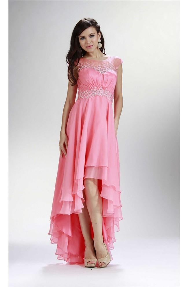 Modern Cap Sleeve Open Back High Low Pink Chiffon Layered Prom Dress