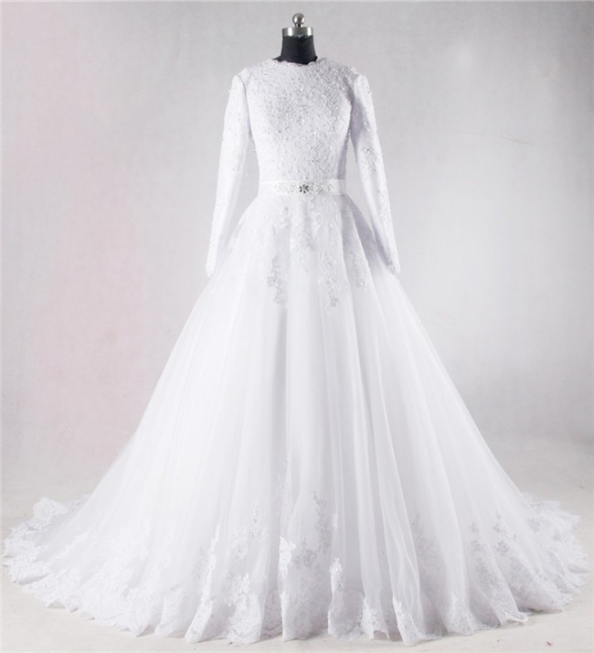 Modest Ball Gown High Neck Full Back Long Sleeve Lace Beaded Wedding ...