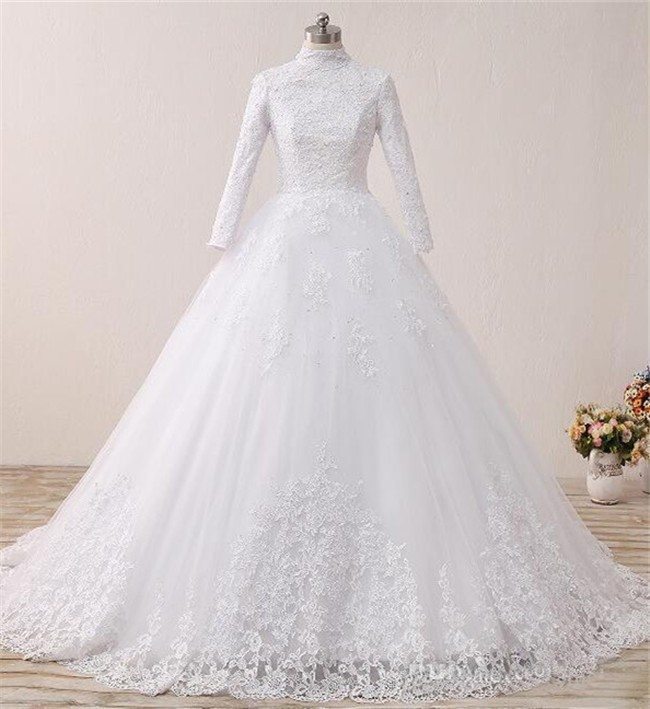 Modest Ball Gown High Neck Long Sleeve Tulle Lace Wedding Dress
