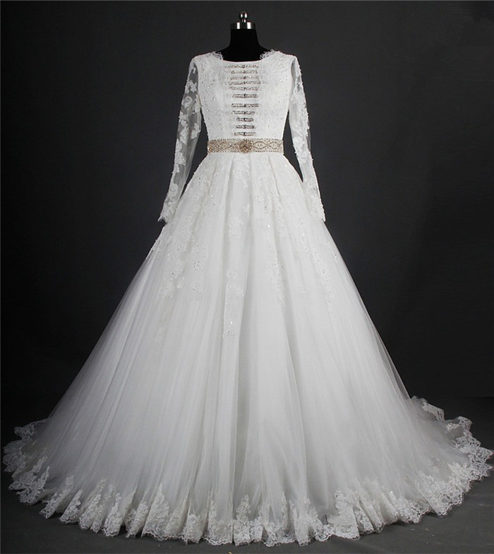 Modest Ball Gown Long Sleeve Tulle Lace Crystal Beaded