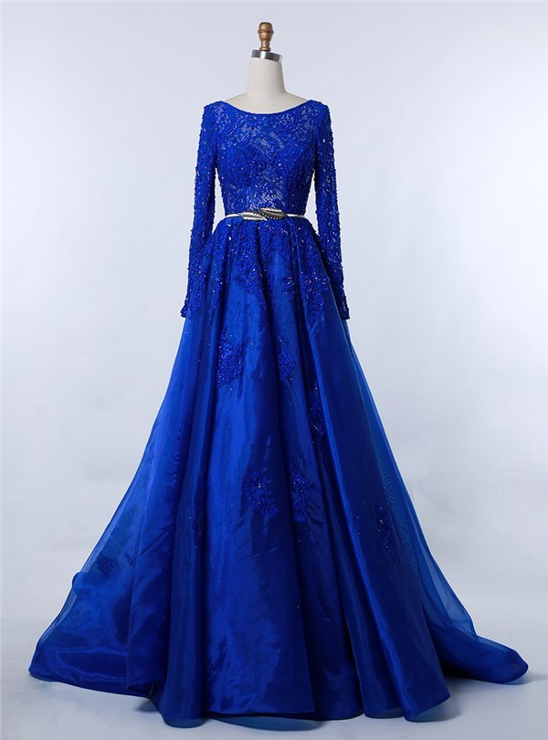 Modest Bateau Neckline Long Sleeve Royal Blue Organza Lace Beaded ...