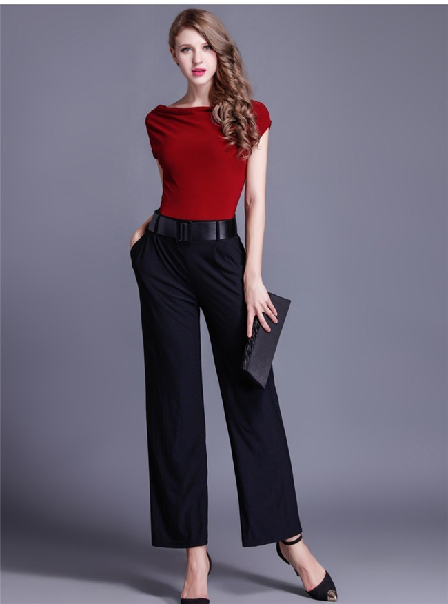 2e97caa8028 Modest Cap Sleeve Black And Burgundy Jersey Evening Jumpsuit With Pockets