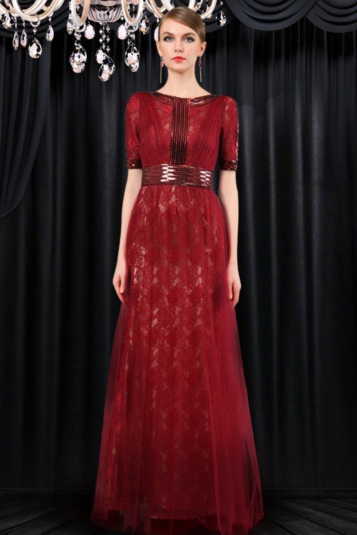 Modest High Neck Full Back Long Burgundy Tulle Lace Evening Dress ...
