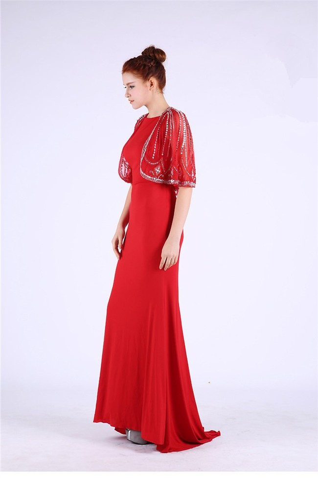 Modest High Neck Long Red Jersey Prom Dress With Beading ...