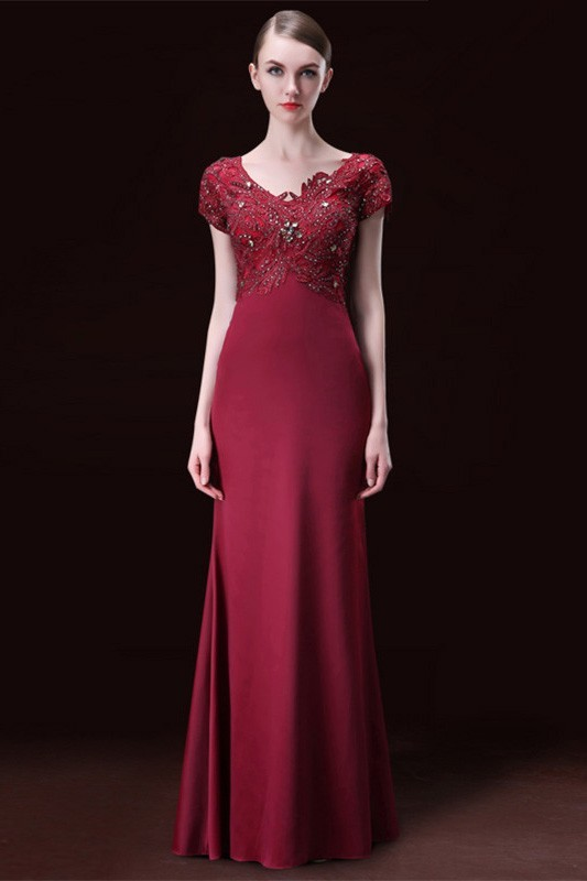 Modest Mermaid V Neck Burgundy Satin Lace Beaded Formal Evening