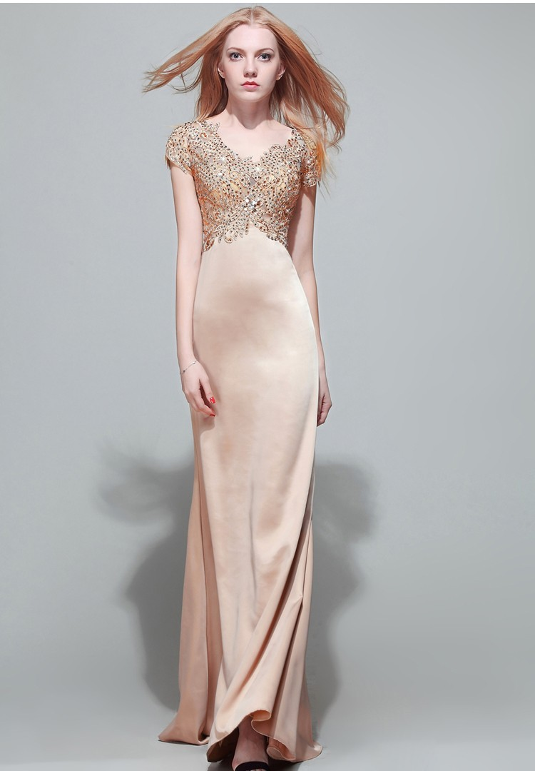 Modest Mermaid V Neck Empire Waist Champagne Satin Lace ...