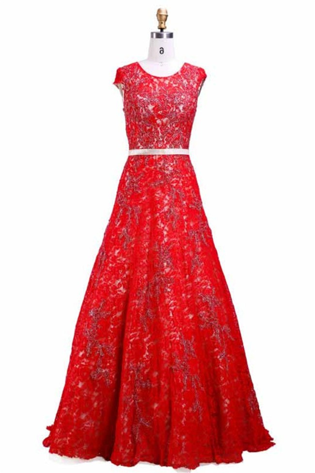 Modest Scoop Neck Cap Sleeve Long Red Lace Prom Dress With