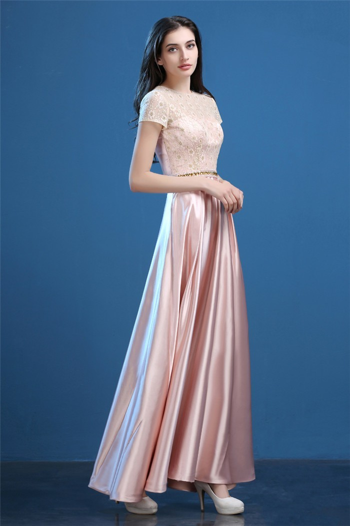 Modest Sheath Long Blush Pink Silk Satin Lace Evening Prom Dress With Sleeves
