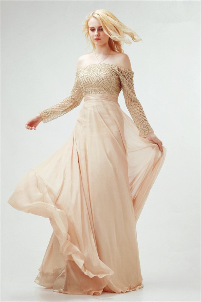 Off The Shoulder Long Sleeve Champagne Chiffon Flowing