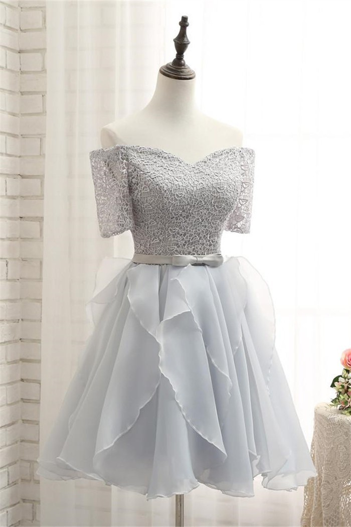 4b72dcba5006 Off The Shoulder Short Sleeve Silver Lace Organza Ruffle Prom Dress