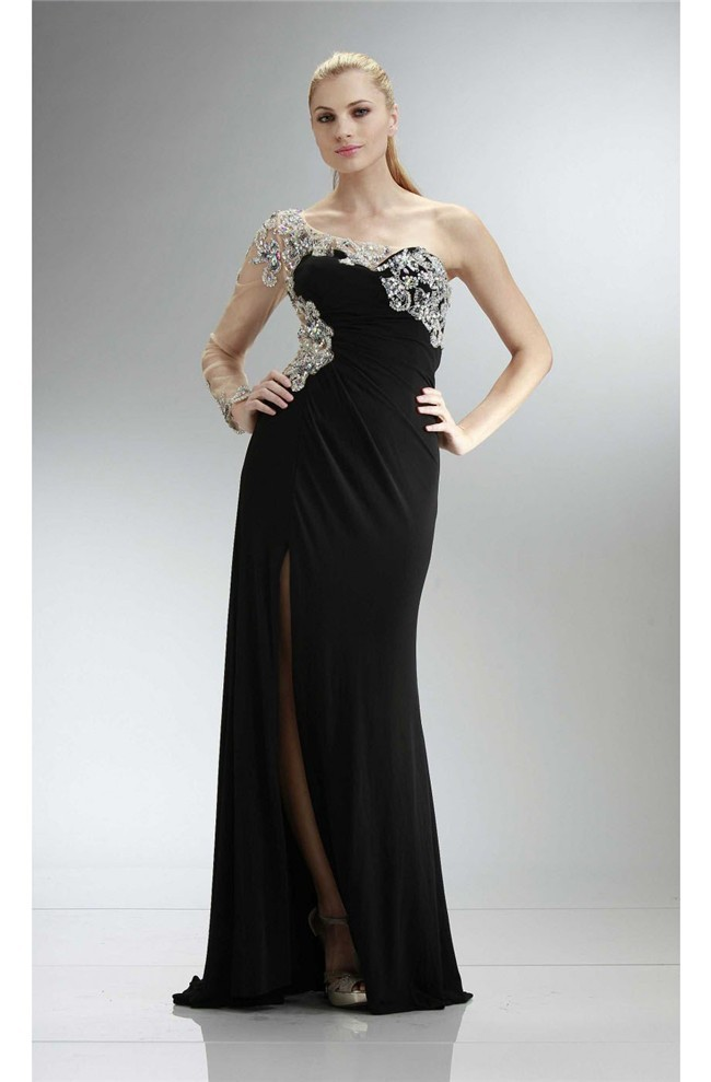 One Shoulder Long Sleeve High Slit Black Jersey Beaded Prom Dress