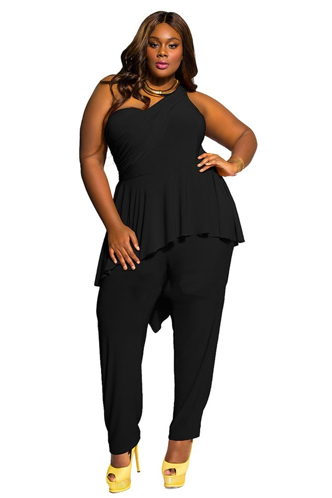 ed96066e9ca One Shoulder Ruffle Peplum Plus Size Black Jumpsuit For Women