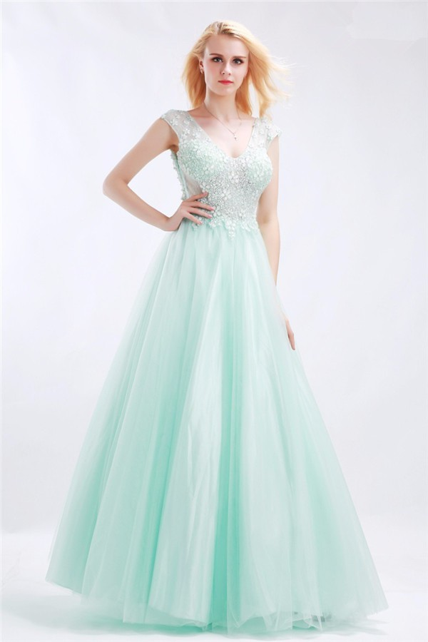 Princess A Line Open Back Cap Sleeve Mint Green Tulle Beaded Prom Dress