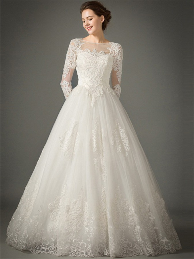 4b2cde65327a Princess A Line Sheer Neckline Tulle Lace Sleeve Wedding Dress No Train