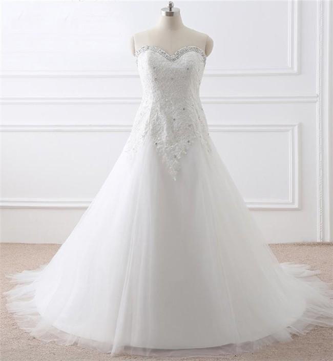 Princess A Line Sweetheart Corset Tulle Lace Plus Size Women Wedding ...