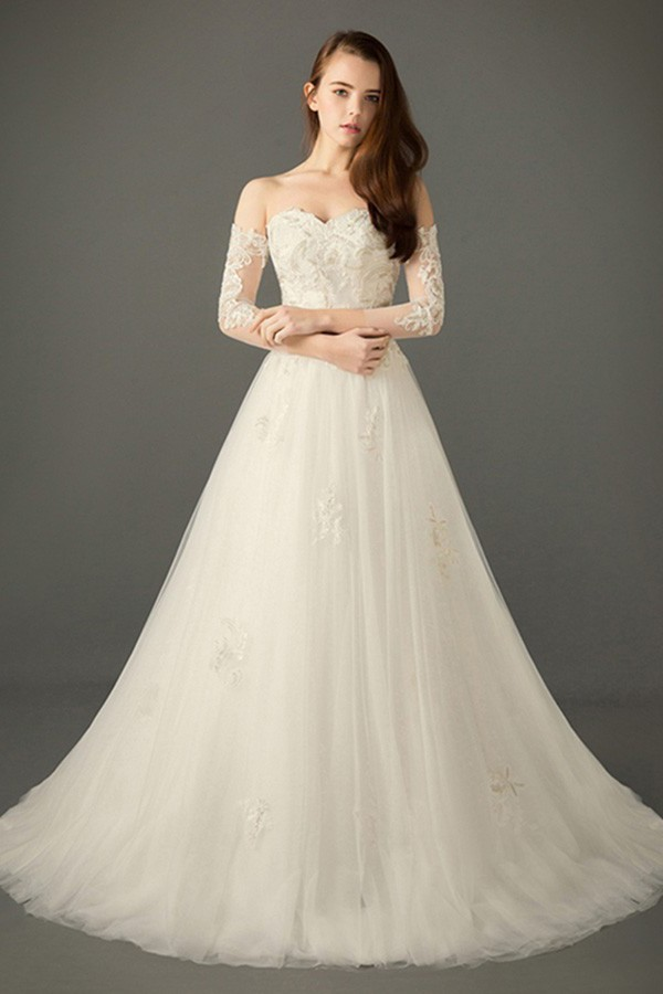 Princess A Line Sweetheart Off The Shoulder Tulle Lace Wedding Dress