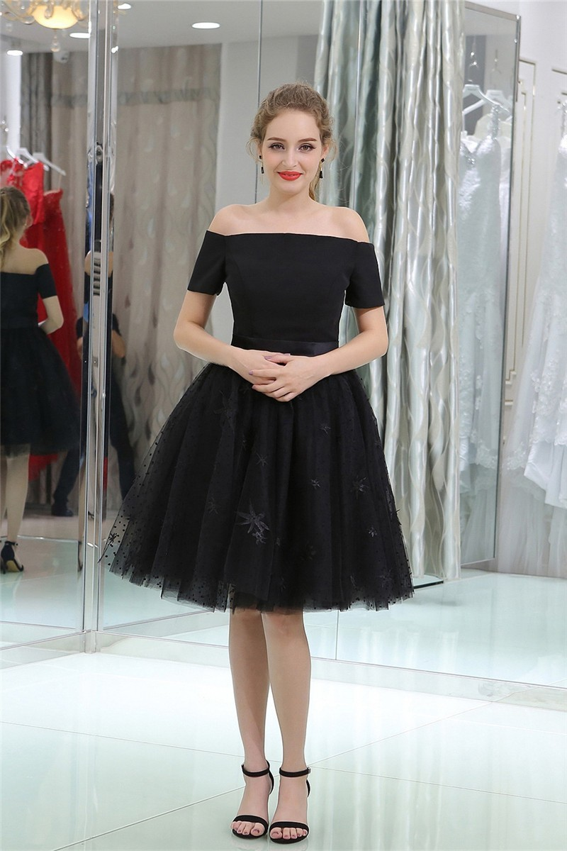 6a631b57cf53 Princess Off The Shoulder Short Black Tulle Prom Dress With Sash