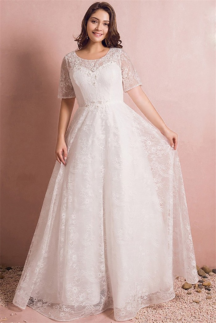 Princess Scoop Neck Short Sleeve Lace Plus Size Wedding Dress No Train