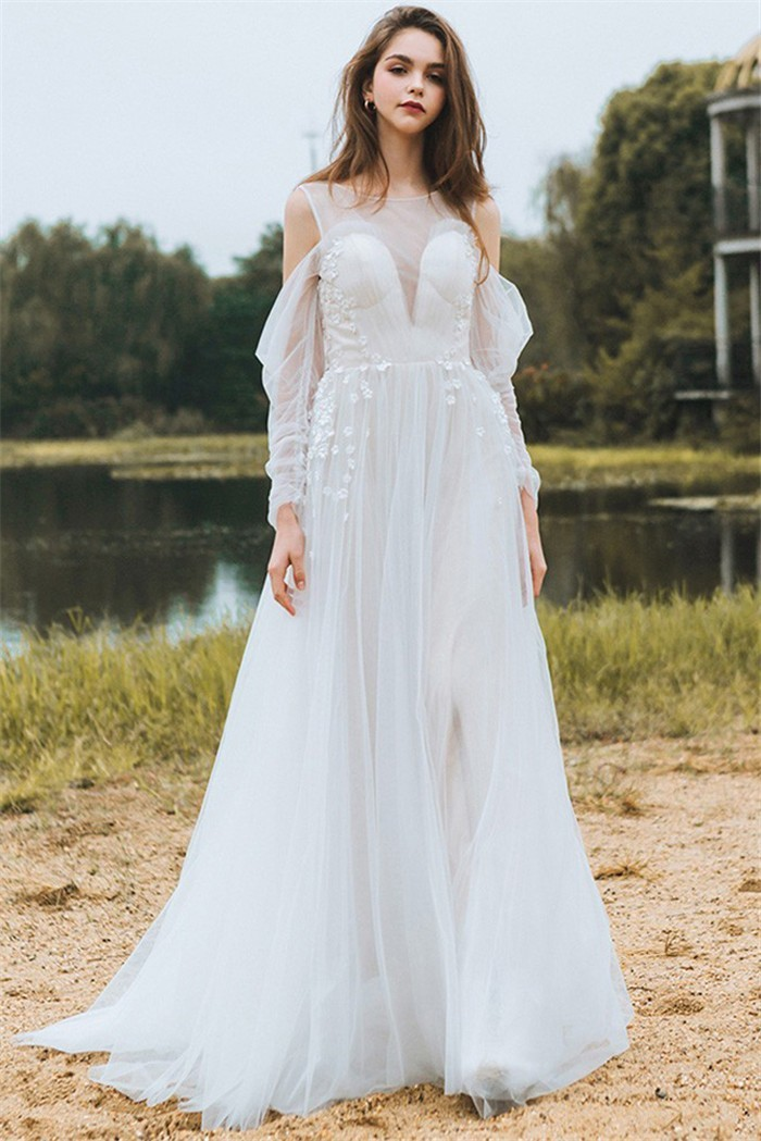 Princess Sheer Neckline Back Tulle Flower Bohemian Wedding Dress With Sleeves