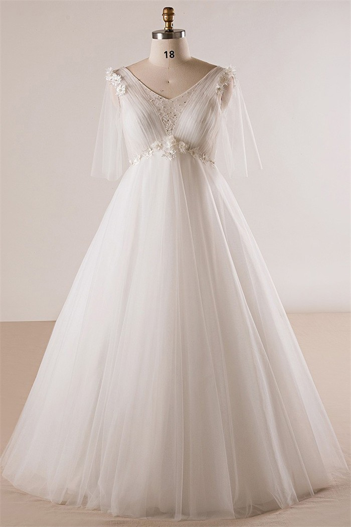 Princess V Neck Empire Waist Tulle Sleeve Plus Size Wedding Dress No ...
