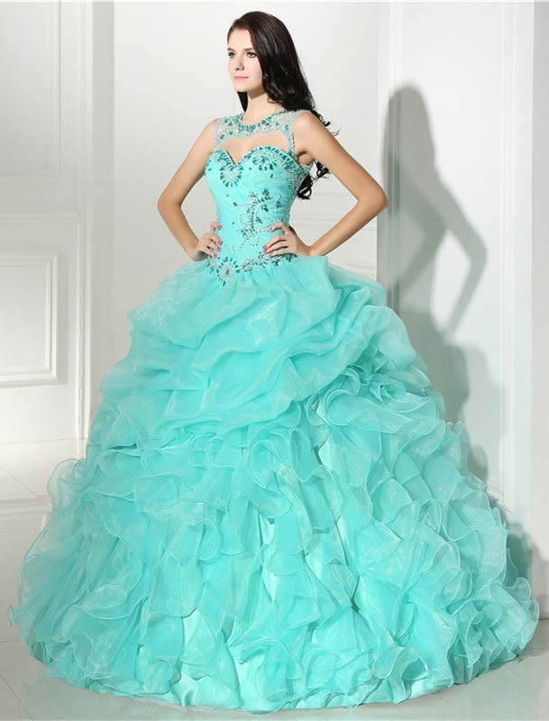 Puffy Ball Gown Mint Green Organza Ruffle Quinceanera Prom Dress ...